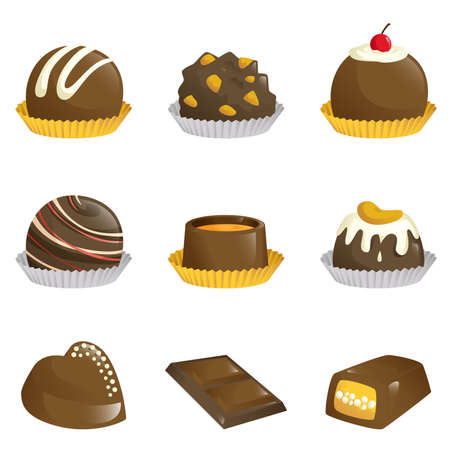 A illustration of different kinds of chocolates icons