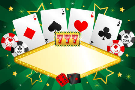 A illustration of gambling background with poker chips and cards