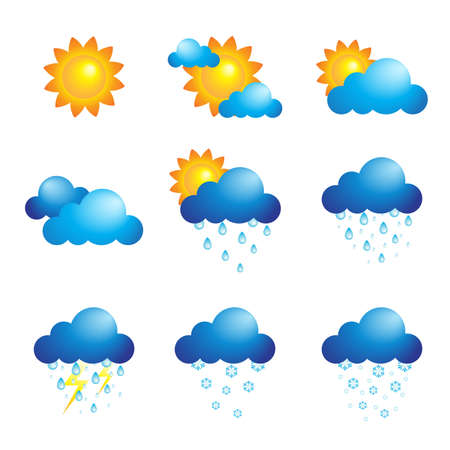 A vector illustration of different weather iconsのイラスト素材