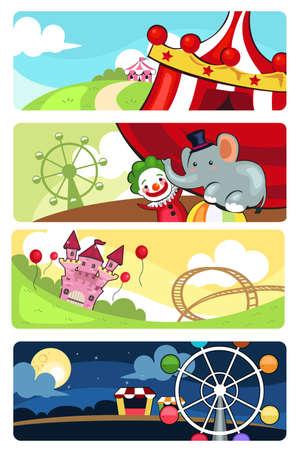 A vector illustration of amusement park banner sets