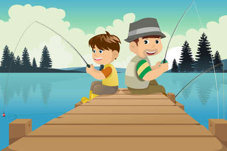 A vector illustration of father and son sitting on a dock fishingのイラスト素材