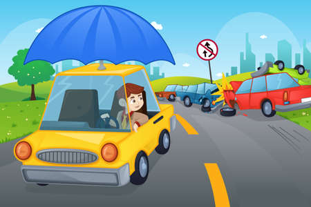 A vector illustration of cars in an accident for car insurance concept