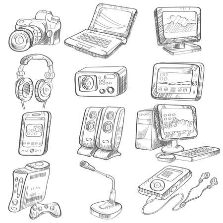 A illustration of pencil drawing of electronic gadget