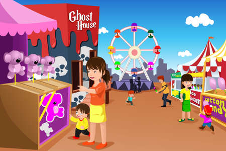 A vector illustration of kids and their parent having fun in an amusement park