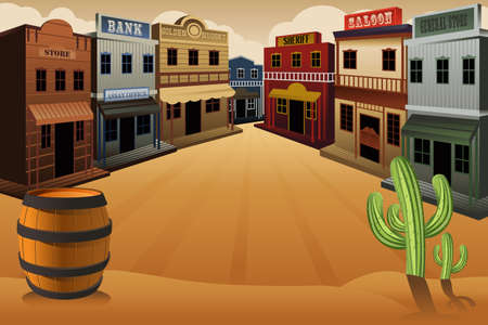 illustration of old western town