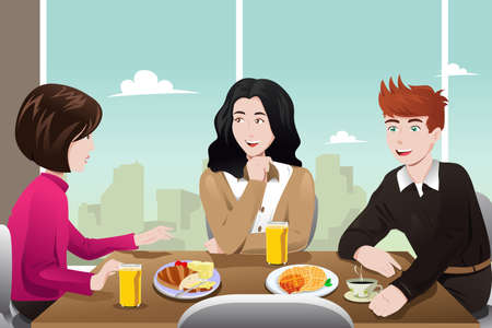 illustration of business people eating together in the cafeteria
