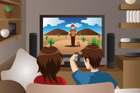 A illustration of modern couple watching television in the living room
