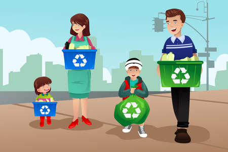 A vector of family recycling together