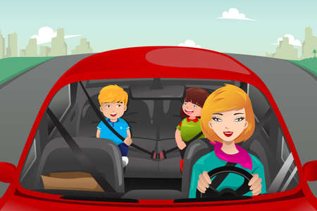 A vector illustration of mother driving with her children riding in the back wearing seatbelts