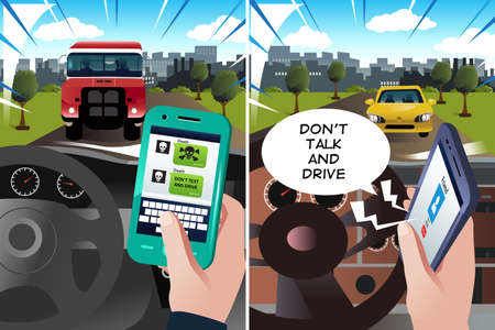 A vector illustration of concept of don't text and drive and don't talk and drive