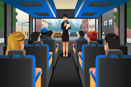 A vector illustration of Tour guide talking to tourists in a tour bus