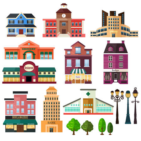 A vector illustration of buildings and lamp post icons