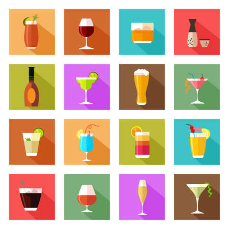 A vector illustration of alcohol drink glasses icons
