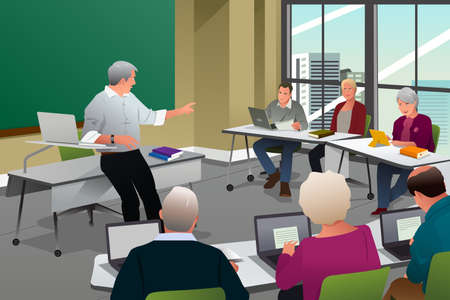 A vector illustration of adult in a college classroom with professor teaching