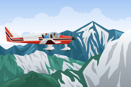 Airplane Over Mountains Illustration