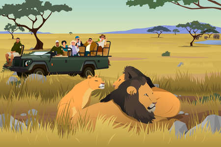 A vector illustration of Tourist on African Safari Trip with lions and trees.