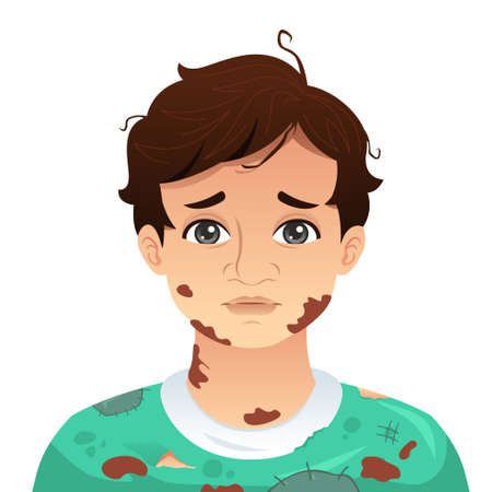 A vector illustration of Young Man With Dirty Mud Face