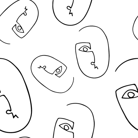 Illustration pour Seamless pattern with abstract outline silhouette of human face.Black  silhouette on white  background. Trendy minimalistic faces. Modern avant- garde poster. - image libre de droit