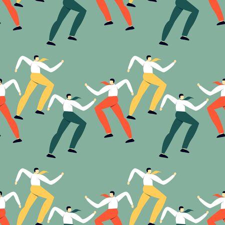 Vektor für Seamless pattern with dancing office workers. Modern simple design of human's silhouette. - Lizenzfreies Bild