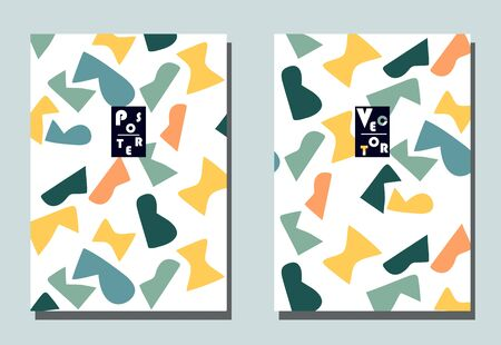 Illustration for Trendy cover with graphic elements - abstract shapes. Two modern vector flyers in avant-garde  style. Geometric wallpaper for business brochure, cover design. - Royalty Free Image