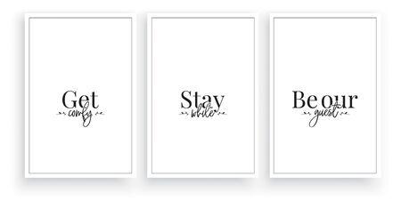Illustration pour Get comfy, stay while, be our guest, vector. Wording design, lettering. Minimalist three pieces poster design. Minimalist background. Scandinavian design. Wall artwork, Wall art, decoration - image libre de droit