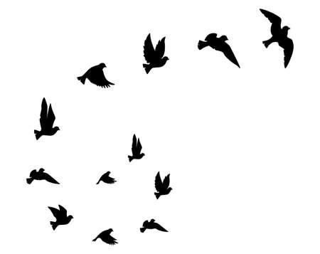 Illustration pour Flying birds silhouettes, vector. Birds illustration isolated on white background. Scandinavian minimalism art design. Wall art, artwork, poster design. Freedom concept - image libre de droit