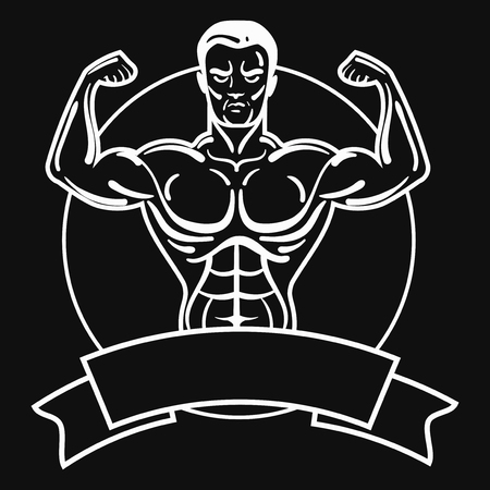 Bodybuilder with a sporty physique. A man with muscular muscles. Black and white athlete. Sports emblem. Master of mixed martial arts.