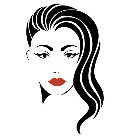 Illustration for Portrait of a girl. Head of a beautiful girl. Face of a young woman with a female hairdo. Logo for the beauty salon. - Royalty Free Image