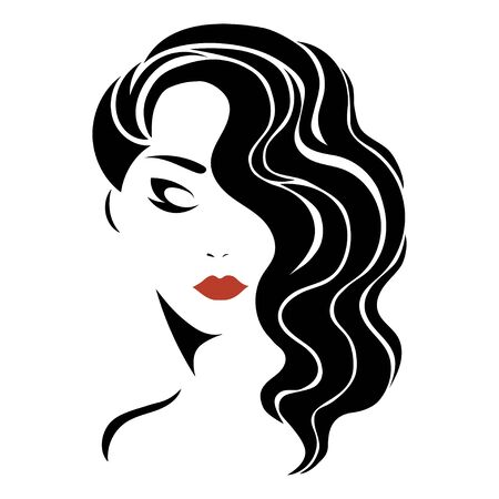 Illustration for Portrait of a girl. Head of a beautiful girl. Face of a young woman with a female hairdo. Design for the beauty salon. - Royalty Free Image