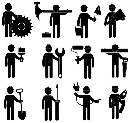 Illustration for Set of construction professions icons. Collection of stylized signs of construction work. Black and white logo of a variety of works. - Royalty Free Image