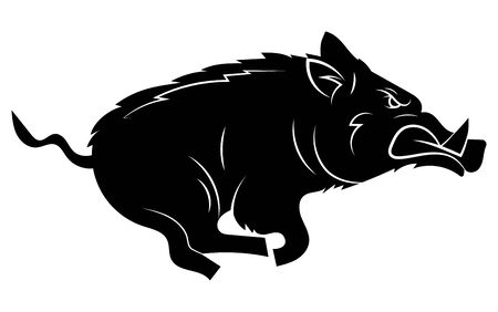 Illustration pour Running wild boar. Black and white vector illustration of a stylized boar. Drawing of a wild animal for hunting. Tattoo. - image libre de droit