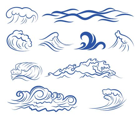 Illustration pour Set of sea waves. Collection of stylized waves for the logo. Vector illustration for travel agencies. - image libre de droit