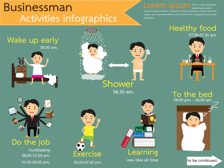 Activities workday. business life. daily routine. businessman manage schedule workday from dawn to dusk infographics, vector illustration.