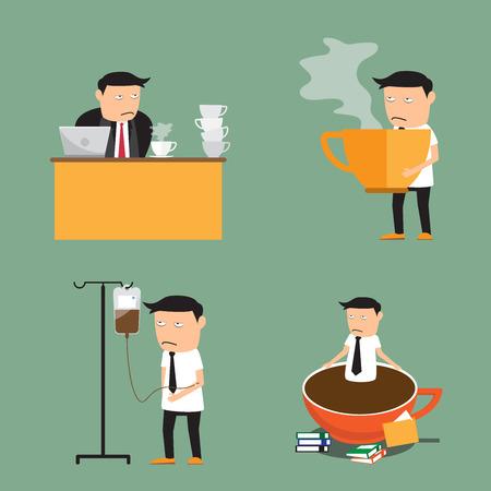 coffee addiction elements. businessman need more coffee, vector illustration.