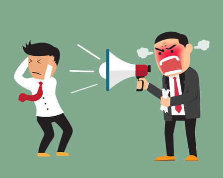 Illustration for Angry boss shouting at employee on megaphone vector illustration. - Royalty Free Image