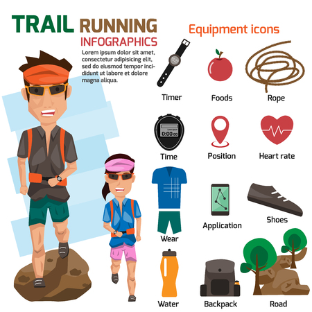 Man and woman runs in the forest with accessories icons.  trail running concept infographics elements. vector illustration.