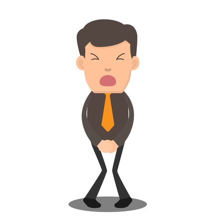 Illustration pour Businessman has to pee very urgently. business cartoon character vector illustration. - image libre de droit
