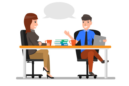 Illustration pour Business people sitting in office and talking illustration. - image libre de droit