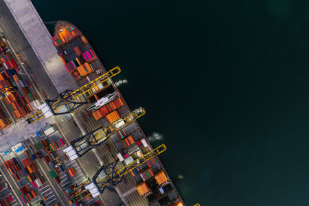 Photo for Aerial view sea port Container cargo loading ship in import export business logistic. Freight transportation. shipping business logistic. Trade Port and Shipping cargo to harbor. - Royalty Free Image
