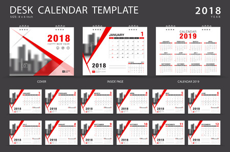 Ilustración de Desk calendar 2018 template. Set of 12 Months. Planner. Week starts on Sunday. Stationery design. advertisement. Vector layout. red cover. business brochure flyer. - Imagen libre de derechos