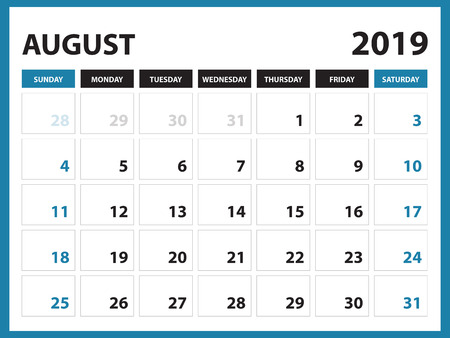 Illustration pour Desk calendar for AUGUST 2019 template, Printable calendar, Planner design template,  Week starts on Sunday, Stationery design, vector illustration - image libre de droit