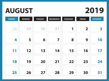 Ilustración de Desk calendar for AUGUST 2019 template, Printable calendar, Planner design template,  Week starts on Sunday, Stationery design, vector illustration - Imagen libre de derechos