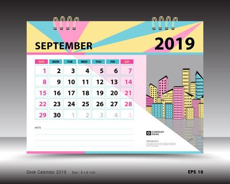 Calendar Planner September 2019.Desk Calendar For September 2019 Template Printable Calendar
