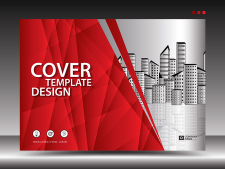 Illustration for Red cover template for advertising, industry, Real Estate, home, Billboard, presentation, brochure flyer, annual report cover, book, advertisement, printing layout, polygonal background, vector, a4 - Royalty Free Image