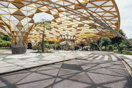 Diamond shape roof top detail of Garden pavilion in Kuala Lumpur's Perdana Botanical Gardens in Jalan Tembusu, Malaysia.