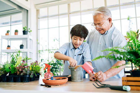 Photo pour Asian retirement grandfather and his grandson spending quality time together insulated at home. Enjoy taking care of plants, watering. Family bonding between old and young. Concept of quarantine. - image libre de droit