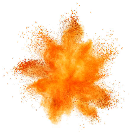 orange powder explosion isolated on white background