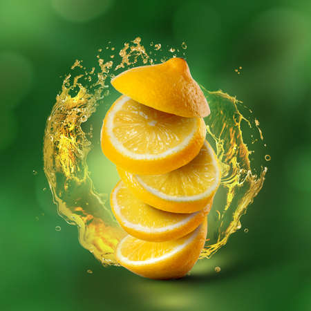 Photo pour Slices of lemon flying in air with juice splash on green background - image libre de droit