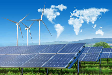 Photo for solar panels and wind turbines with world map - Royalty Free Image