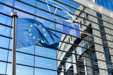 European Union flag against European Parliament